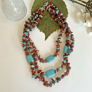 Jewelry - Faux Turquoise Coral Necklace Chip Multi Strand